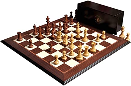 """/& Board Combination Golden The Wild Knight Series Chess Set 3.75/"""" King Box"""