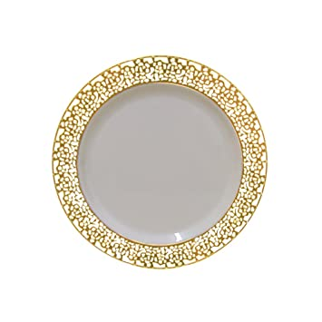 Amazon.com: Christmas 7.5 Inch Plastic Plates Trimmed With Gold Lace ...
