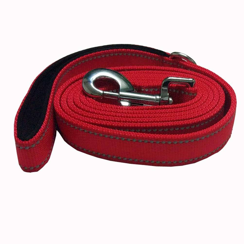 Jim Hugh Big Dog Collar Leash Rope 180cm Middle Large Reflection Pet Dog Belt Leash Traction Rope Nylon Dog Harness Rope CL107red