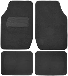 Premium Interlock Carpet Car Floor Mats for Auto, SUV, Vans, Trucks - Super Secure No-Slip Tech Keep-in-Place Backing - 4pc Black