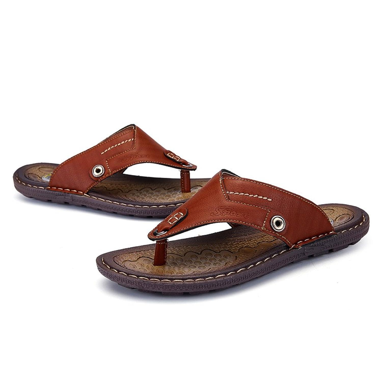MXNET Thong Flip Flops Schuhe, Männer Casual PU-Leder Strand Hausschuhe Handarbeit Suture Rutschfeste Weiche Flache Sandalen,Sandalen fur Herren (Farbe : Brown, Size : 41 EU)