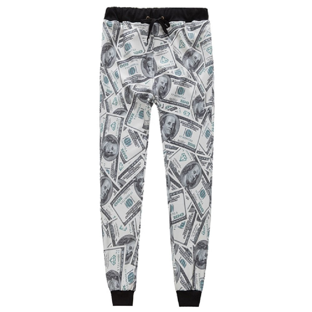 GuPoBoU168 Unisex Dollars Notes Bill Money Printed Joggers Long Pants