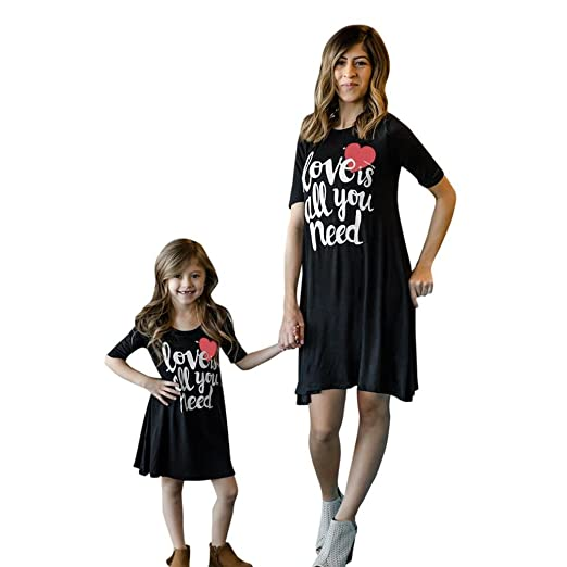 793048912c1 Sunward 2018 Mommy and Me Women s T Shirt Dress Crew Neck Ombre Party Dress  (Black