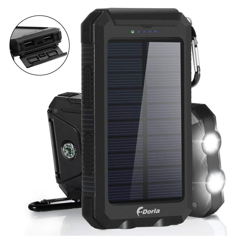 Solar Charger 20000mAh Power Bank, Portable Charger Solar Phone Charger with 2 USB Port 2 LED Light External Battery Pack for Emergency Travelling Camping, iPhone Android Cellphone Charging (Black)