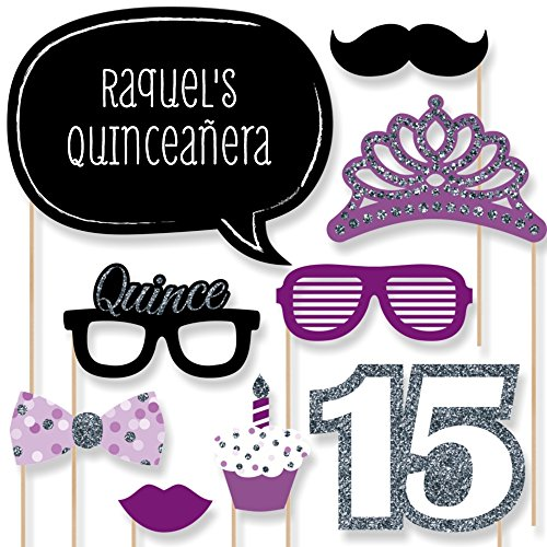 Custom Quinceanera Purple Birthday Party Photo Booth Props Kit - Personalized Sweet 15 Party Decorations - 20 Selfie Props
