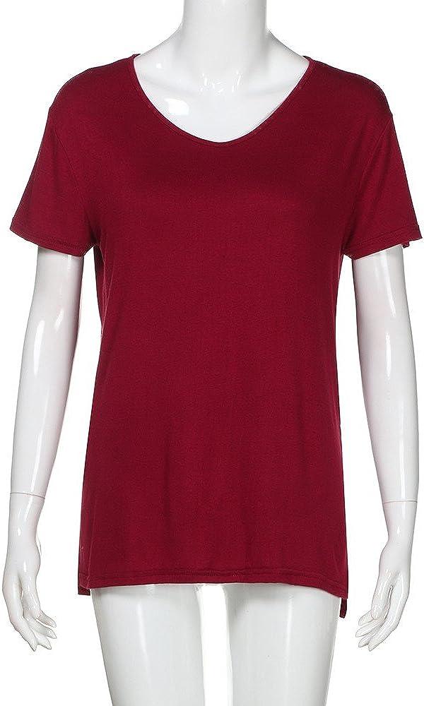 Frau Beil/äufiges V-Ausschnitt Plain Lockeres R/ückenschlitze T Shirt Oberteile Zimuuy Damen Sommer Bluse