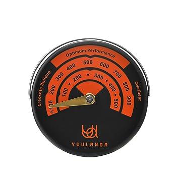 Madera estufa termómetro, termómetro y medidor de estufa para estufas de madera parte superior, chimeneas, Stovepipe termómetro Medidas temperaturas ...