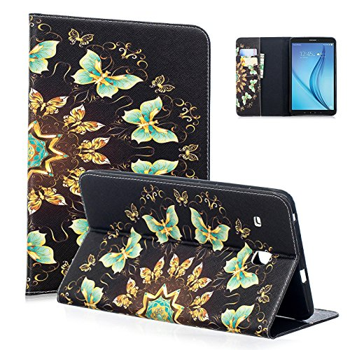 Tab E 8.0'' Case, Samsung Glaxay SM-T377a Case, Dteck Cute Cartoon PU Leather Flip Stand Case with [Silicone Back Cover] for Galaxy Tab E 32GB SM-T378/Tab E 8.0 SM-T375/SM-T377, Butterfly Circle by Dteck