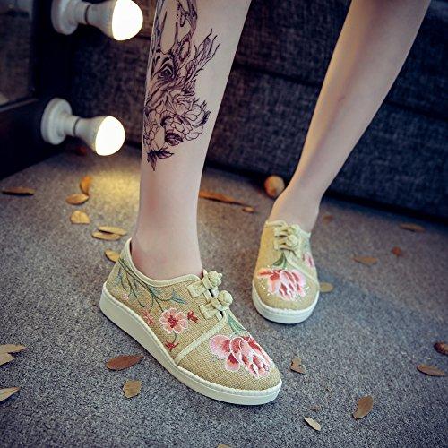 Avacostume Mujeres Country Style Jazmín Bordado Zapatos De Lino Holgazán Crema