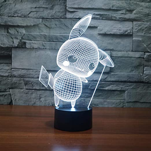 3D Lamp Pokemon GO Pikachu LED Night Light 7 Colors Touch Desk Table Lamp Gifts