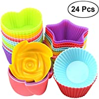 BESTONZON 24pcs Silicone Muffin Baking Cups Silicon Cupcake Liners Non-Stick Cake Molds Stackable Soap Moulds