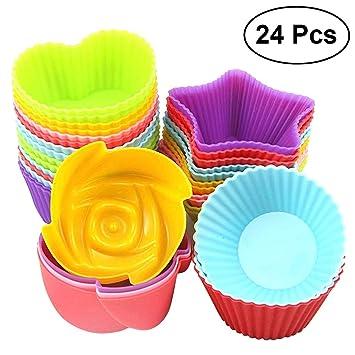 BESTONZON 24pcs Muffin de silicona para hornear tazas de silicona Magdalena Liners antiadherente moldes de pastel apilable jabón moldes: Amazon.es: Hogar