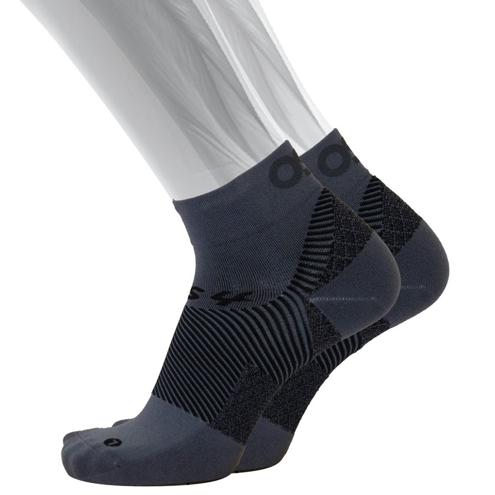 OS1st FS4 Plantar Fasciitis Socks (Pair) for Plantar Fasciitis relief, arch support and foot health featuring patented FS6 technology (Medium, Grey)