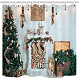 NYMB New Year Festival Bath Curtain, Christmas Tree Fireplace and Presents for Family, Mildew Resistant Fabric Shower Curtains for Bathroom, Shower Curtain Hooks Included, 69X70in