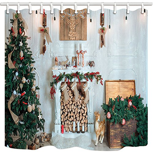 NYMB New Year Festival Bath Curtain, Christmas Tree Fireplace and Presents for Family, Mildew Resistant Fabric Shower Curtains for Bathroom, Shower Curtain Hooks Included, 69X70in by NYMB