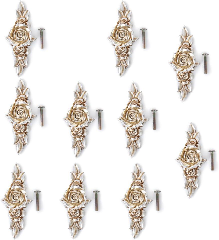Rose Flower Pattern Drawer Knobs Handles Dresser Knob Cabinet Pulls Handle Backplate Bling Furniture Cabinet Hardware Pack of 10