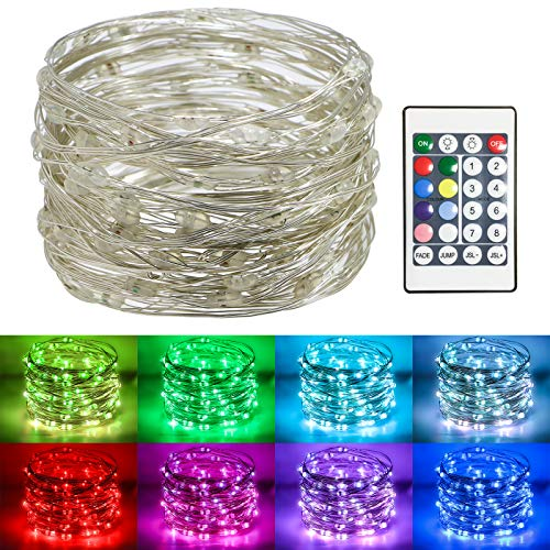 Koopower 100 Led 32Ft Fairy Lights Battery Operated Muticolor Changing String Lights RGB Waterproof Firefly Lights for…