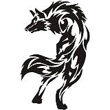 野生の狼/ウルフモチーフのバイク用ステッカー、バイク用品、バイクグッズ(黒/16cm*25cm