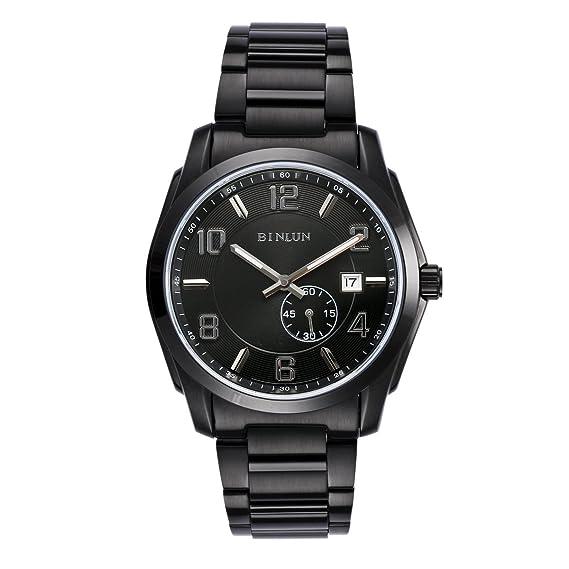 binlun automático relojes para los hombres color negro oficial Militar reloj con resistente al agua luminoso