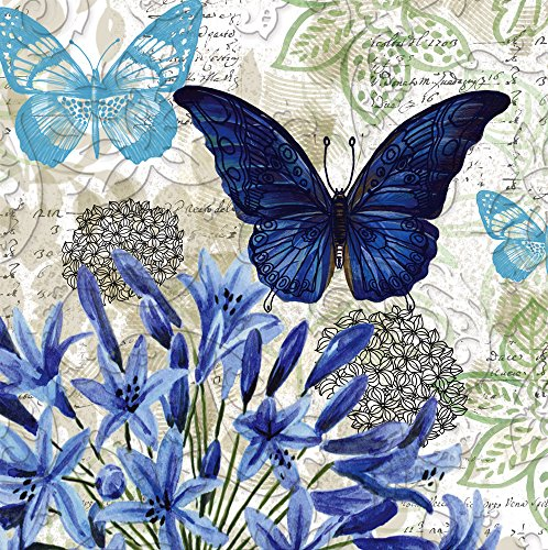 "Floral Decoupage - Cypress Home Blue Floral Study Embossed Paper Cocktail Napkin, 20 count - 5""L x 5""H"