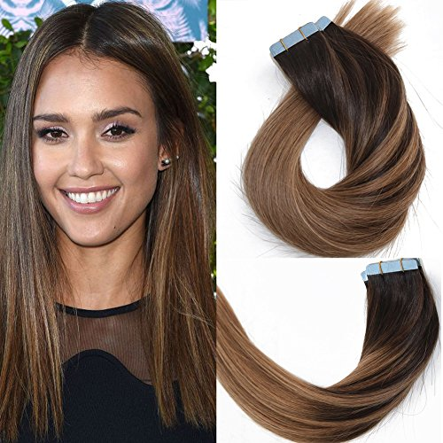 14 inch 20pcs 50g Balayage Ombre Tape Hair Extensions Sombre Brown with...