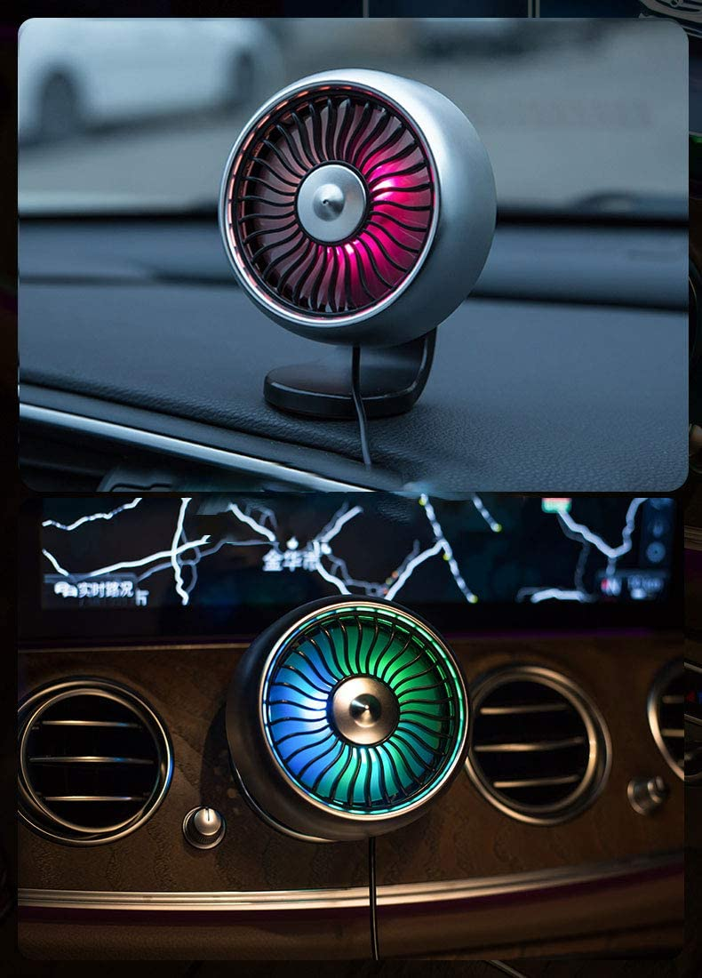 Adjustable 3-Speed Air Conditioning Outlet Vent Fan with Colorful Light// 360/° Rotatable Car USB Fan Car Fan Portable USB Fan for Car A//C Vent