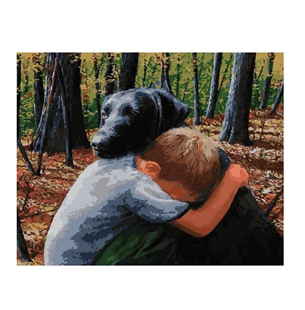 Malen Sie Nach Zahlen Für Erwachsene Canvas DIY Forest Boy & Dog Love for Adult 40x50cm with Combination Frame B07PWGFZ4W | Bunt,