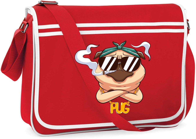 Drucklebnis24 - Bolso bandolera para el hombro - Mops Kiffer gafas de sol marihuana - Bolso bandolera adecuado para escuela, universidad, portátil y trabajo