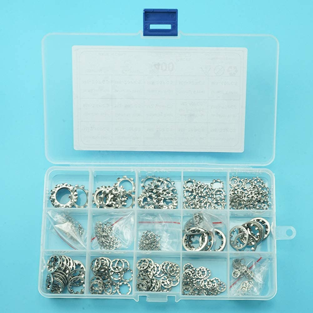 Yudesun Internal Star Tooth Lock Washers 400Pcs Hardware Fastener Internal External Tooth Washer Gasket Locking Washers Assortment Kit M2-M12