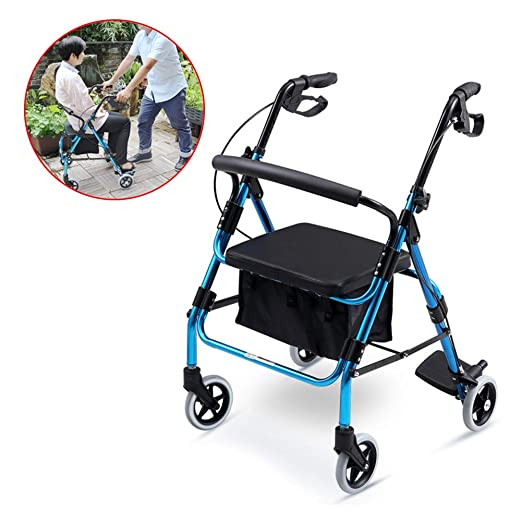 SHOW-WF Aluminio Plegable Andador para Ancianos De 4 Ruedas ...