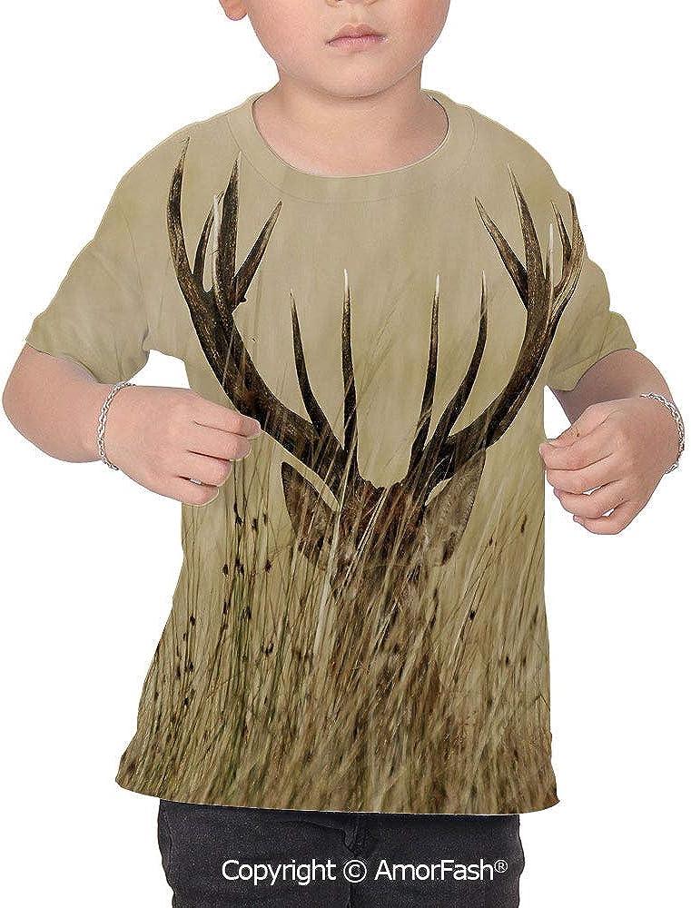 PUTIEN Antler Decor Over Print T-Shirt,Boy T Shirt,Size XS-2XL Big,Whitetail Deer Fawn