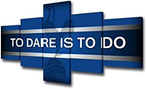 """Sports Canvas Wall Art Football Club Logo Decorations for Living Home Pictures to Dare is to do Paintings 5 Piece House Decor Giclee Wooden Framed Stretched Ready to Hang 50""""W x 24""""H"""