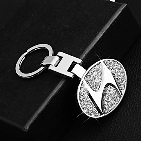 VILLSION 3D Car Key Chain Accessories with Shining Crystal, Double Sided Zinc Alloy Metal Keyring Logo Car Keychain with Gift Box