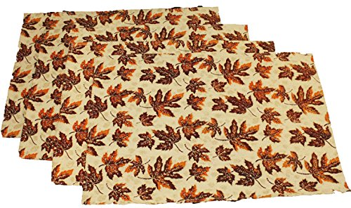 Twisted Anchor Trading Co Set of 4 Fall Leaves Placemats - Deep Woodsy Colors with Glitter Accents - Tapestry Style Autumn Home Decor Set