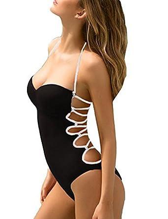 683da5b713 Gogoboi Brazilian Women Sexy Lace Up Bandage Swimsuit One Piece Monokini Bathing  Suit (S