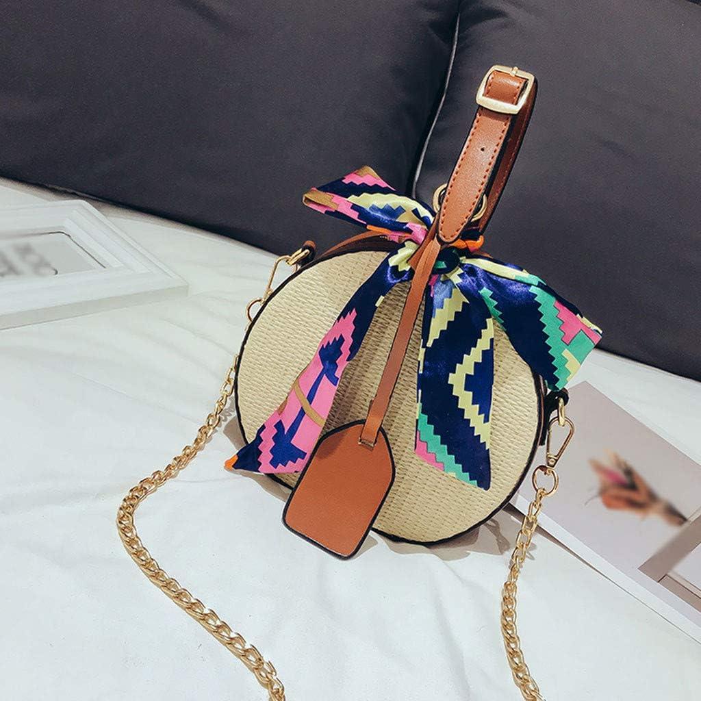 TIMEMEAN Moda Hombro de Las Mujeres Bolsas de Paja Color Cinta Ensillar Mensajero Totes de Vacaciones Carteras: Amazon.es: Ropa y accesorios