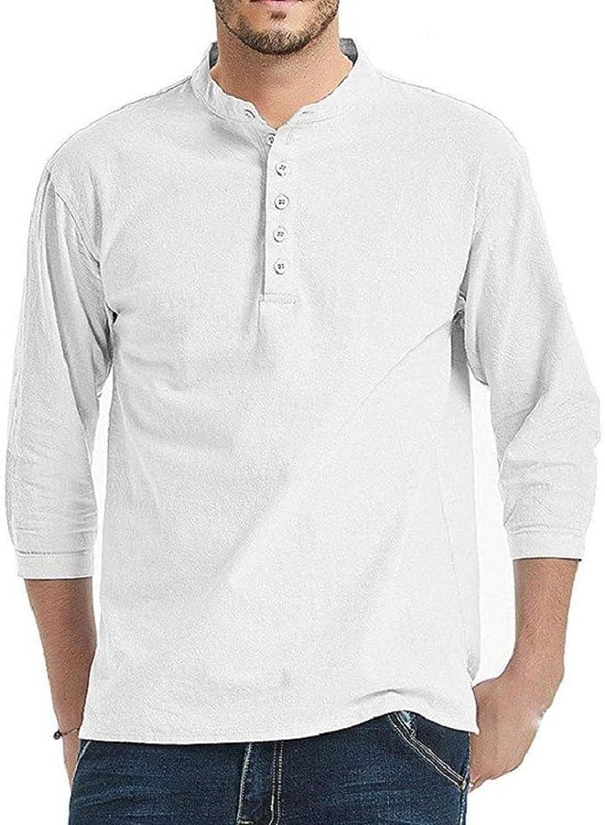 T-Shirt Chemise Grande Taille /à Manches Longues en Coton pour Hommes d/écontract/é /à Manches Longues A Capuche,Respirant Confortable de Couleur Unie et /à