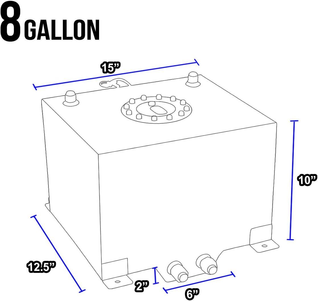 DNAMotoring ALU-FT-T3-ALU-RD Aluminum 8-Gallon Fuel Cell Gas Tank