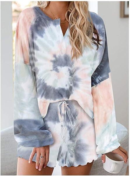 Dysel Pijamas Mujer Verano Cortos Conjuntos de Teñido Anudado Sexy Tallas Grandes, Pijamas Mujer Verano Cortos Algodon Tops y Pantalones de Manga Corta Trajes CasualesL-Gray: Amazon.es: Hogar