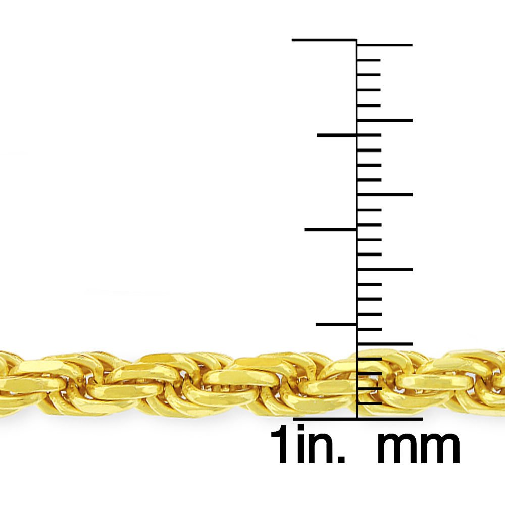 "30/"" 18K Yellow Gold Plated Sterling Silver Italian 4.5mm Rope Diamond-Cut Link 22/"" Solid 925 Twisted Chain Necklace"