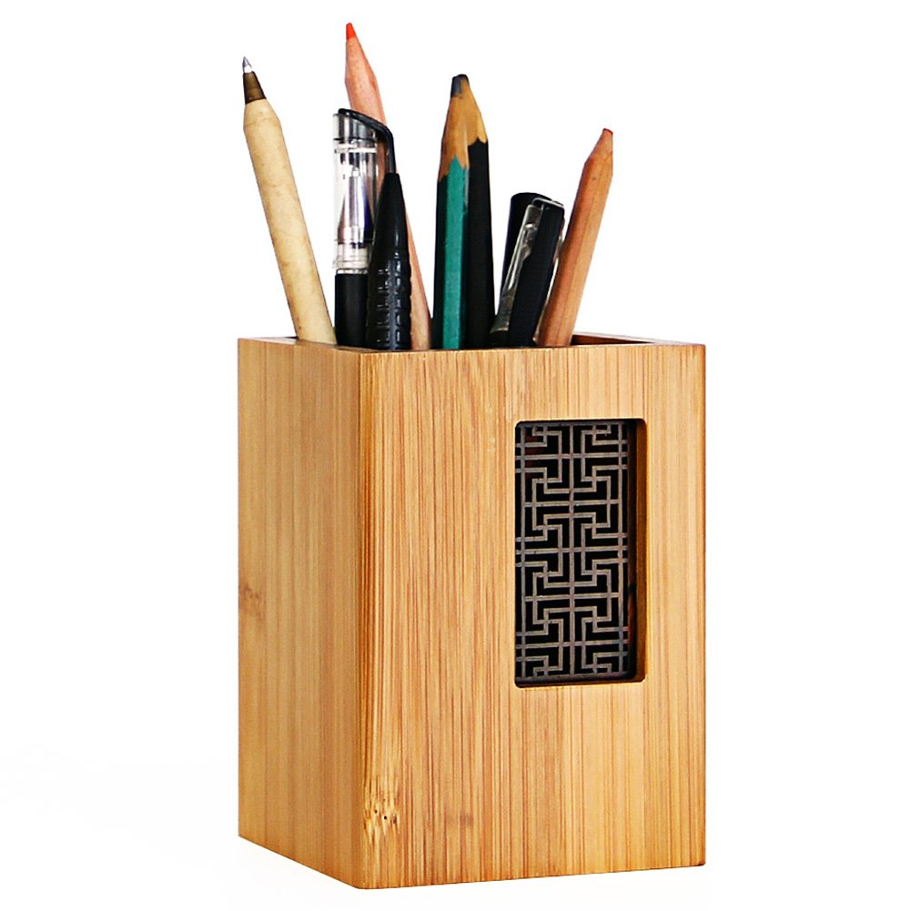 Sixsop Natural Bamboo/Wood Multi Purpose Use Pencil Pot, Pen Pot/Container - Cup Holder Stand for Pens, Pencils, Brushes etc (Bamboo Wood L)