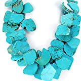 Double Strands Blue Magnesite Turquoise Nugget Necklace with Hand Knotted Silver Toggle N15041556p