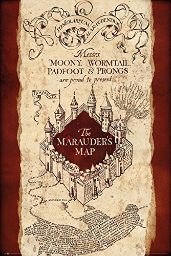 image regarding Harry Potter Marauders Map Printable titled Harry Potter - Online video Poster/Print (The Marauders Map) (Dimension: 24 inches x 36 inches)