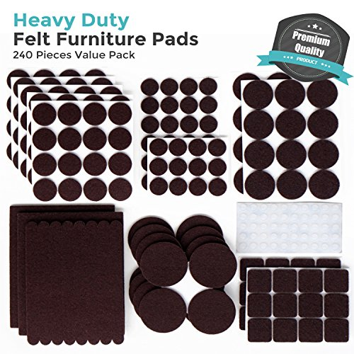 Delicieux PREMIUM Furniture Pads Set 240 Pcs Large Pack Brown   Heavy Duty Adhesive  Felt Pads For