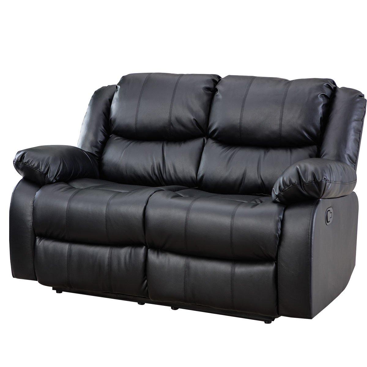 Amazon com giantex 3pc black motion sofa loveseat recliner set living room bonded leather furniture love seat black kitchen dining