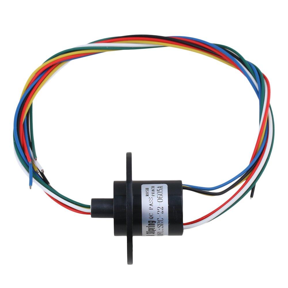 BQLZR 6 Fili 5A 500RPM 240VAC 22mm Dia Conduttori Capsula Slip Ring Anello conduttivo per Monitor Robotic