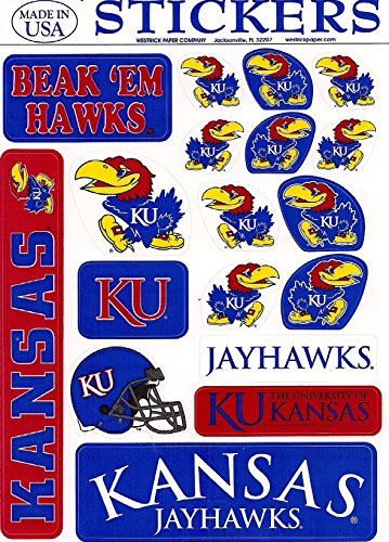 Removeable Vinyl Stickers - Kansas Jayhawks Vinyl Cling Stickers 18 Removeable Decals NCAA Licensed