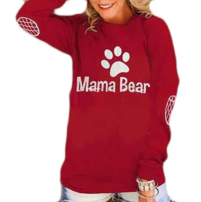 6a7c1f9c07e424 SHOWNO-Women Long Sleeve Crew Neck Mama Bear Print Casual Shirt Tops at  Amazon Women s Clothing store