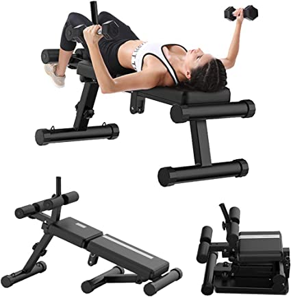 Indoor Sports Activities HUEP Foldable Weight Bench Dumbbells Incline Adjustable Strength Training Sit-ups Board for Full Body Abdominal Workout Home Gym Weight Up to 500lbs