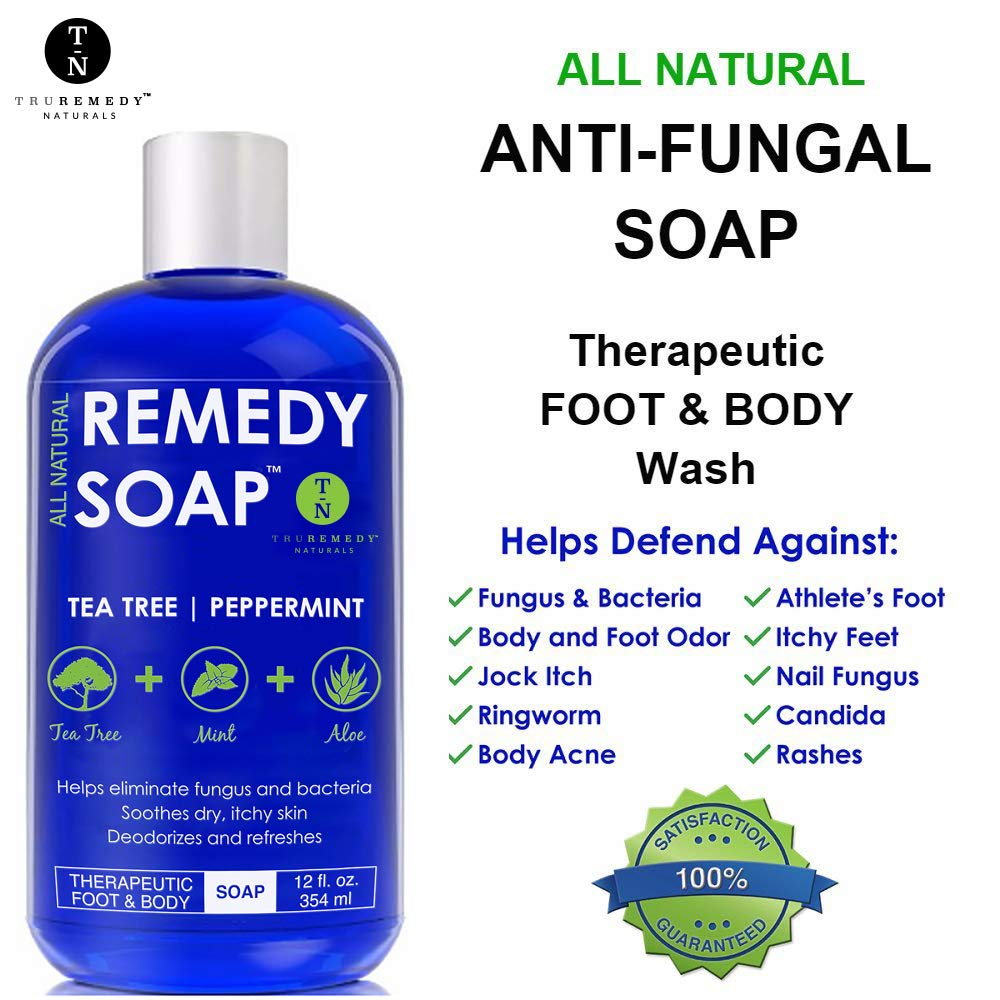 Remedy Soap Pack of 2, Helps Wash Away Body Odor, Sooth Athlete s Foot, Ringworm, Jock Itch, Yeast Infections and Skin Irritations. 100 Natural with Tea Tree Oil, Mint Aloe 12 oz